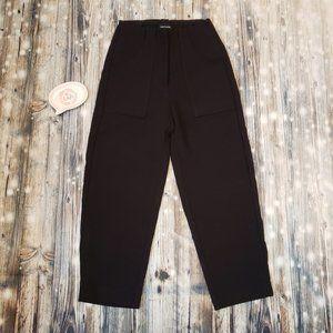 Frank And Oak Alice Straight Cropped Pants High Waist Sz 0 Black